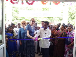 JR (Janakiraman) and UK founder trustee Sylvia Holder cut the ribbon